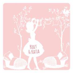 #geboortekaartje #tweeling #meisjes Kelly & Katia | Tweelingwasje