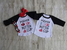 Valentine's Day Shirt, Boys, Girls, Valentine Shirt, Pucker Up Butter Cup, Vinyl, 9M, 12M, 18M, 2T, 3T, 4, 5, Raglan, Icing Raglan, Toddler by MichelleCowartGifts on Etsy