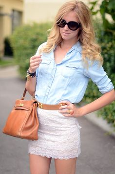 denim and lace outfit