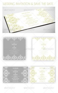 Classic Wedding Invitation and Save the Date — Photoshop PSD #elegant #decorative • Available here → https://graphicriver.net/item/classic-wedding-invitation-and-save-the-date/8245823?ref=pxcr