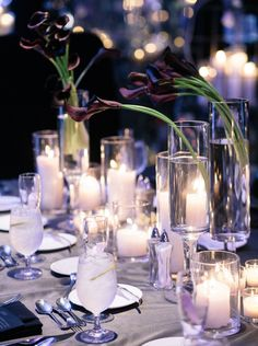 Black Calla Lillies make for dramatic centerpieces. Photo: Akil Bennett Photography via Snippet & Ink Calla Lily Centerpieces, Wedding Centerpieces, Table Centerpieces, Mod Wedding, Wedding Reception, Wedding Ideas, Wedding Inspiration, Reception Decorations, Flower Decorations