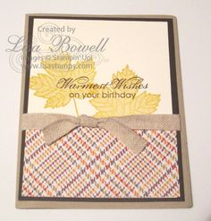Stampin' Up! Magnificent Maple.  Have you tried the NEW Sweater Weather designer paper?! It is adorable! This card is one of my favorites! It is simple and so adorable! Made by Lisa Bowell-Stampin' Up! Demonstrator @ lisastamps.com