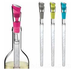 These fun Wine Cooler and Pour Spouts ($33.99 each) allow you to keep wine cool while also providing a pour spout for easy access.
