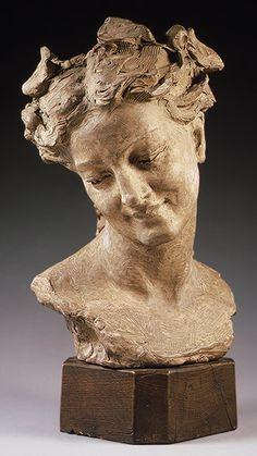 Bacchante with lowered eyes,Artist: Jean-Baptiste Carpeaux (French, Valenciennes Courbevoie) Date: 1872 Culture: French, Paris Medium: Terracotta. Sculpture Head, Sculptures Céramiques, Stone Sculpture, Carpeaux, French Sculptor, Second Empire, Effigy, Ancient Art, Metropolitan Museum