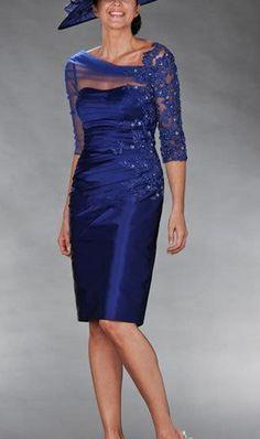 New Sheath 2014 Mother of the Bride Dresses With 3/4 Sleeves Taffeta Appliques Fashion Short Knee Length Custom Made Wedding W20143005