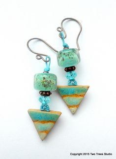 Handmade artisan lampwork and ceramic earrings, Austrian crystal, small, lightweight, modern vintage vibe by TwoTreesStudio on Etsy https://www.etsy.com/listing/222317015/handmade-artisan-lampwork-and-ceramic