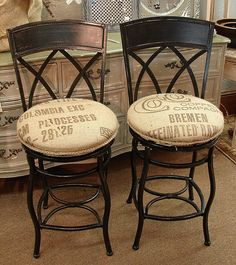 Counter Height Swivel Wrought Iron Bar Stools w Feed Seed Coffee Burlap Sack Seats...SALE: $129. SZ: 38H x 16D x 16W...MORE INFO? Call 828-414-9700. by CURIOSITY. For You. Home. Garden., via Flickr