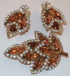 Vtg Weiss Amber Glass Navette Rhinestones Brooch Earrings Set