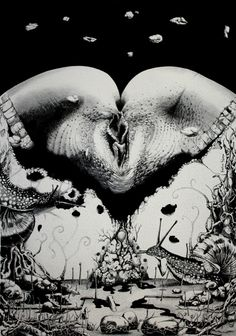 Blessed is the Fruit of Thy Womb… Hector Pineda's Pen and Ink Universe Black Metal, Heavy Metal, Satanic Art, Traditional Art, Dark Art, Female Bodies, Painting & Drawing, Erotic, Blessed