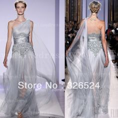 zuhair murad evening Dress one shoulder sliver tule see through sexy Prom party dresses mother of bridal dress BO1223 10% discount $198.00