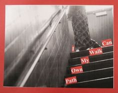 Neat lesson based upon the work of Barbara Kruger.  Students took photo and then came up with a phrase to compliment the photo.