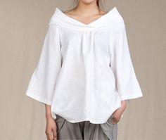 Casual Linen Blouse Three quarter Sleeve Shirtmore por thesimpson