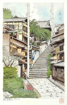 京都清水三年坂,Kyoto Kiyomizu Sannenzaka,Original Pen Drawing by Masato Watanabe