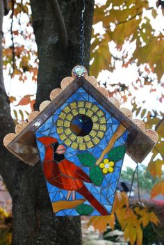 Birdhouse Stained Glass Mosaic Cardinal by NatureUnderGlass, Mosaic Tile Art, Mosaic Birds, Mosaic Crafts, Mosaic Projects, Mosaic Glass, Stained Glass Patterns, Mosaic Patterns, Stained Glass Art, Mosaic Flower Pots