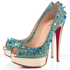 Christian Louboutin Shoes Very Mix 150mm Strass Pumps Green