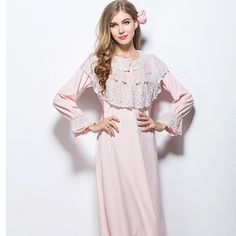 Women velvet round collar long sleeve lace chest nightdress,lady girl pink court princess classic flowers nightgown M-XL L140830