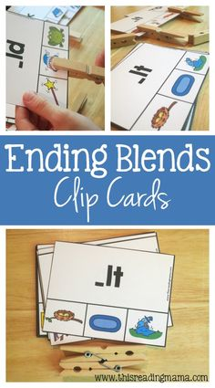 Ending Blends Clip Cards {28 Different & FREE Cards}   This Reading Mama