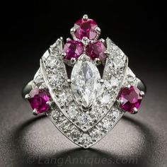 .54 Carat Marquise Diamond and Ruby Ring - GIA F SI1 - What's New