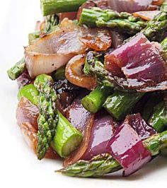 Grilled Asparagus & Red Onions with Olive Oil
