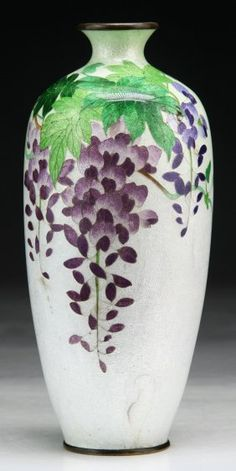 A Japanese Antique GINBARI Cloisonne On Silver Vase : Lot 132