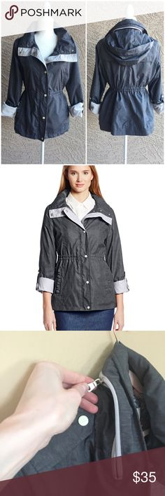 JESSICA SIMPSON Anorak Steel Gray Anorak Rain Jacket in Excellent Condition. This jacket is everything! Ruffle Pockets. The collar unzips to reveal a hood that you can either use or hide away. Snap and zip front closure. Pull-tan sleeves, so you can either wear full-length or rolled-up to a 3/4 length. Pull strings on inside, so you can either wear normally or with a cinched waist. Back vent flap. ✨OFFERS WELCOME✨ Jessica Simpson Jackets & Coats