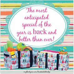 Thirty One has me counting down the days until June! I love the large utility tote special!!! www.PursePartyMom.com