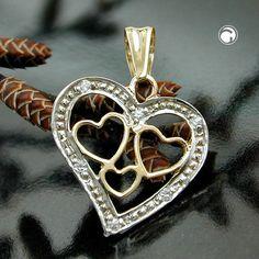 Anhänger, Herz bicolor, 9Kt GOLD  Rand rhodiniert mit 6 Zirkonias