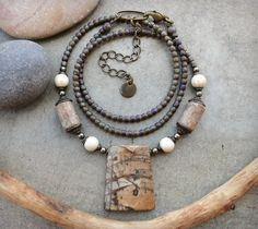 Rustic Peach and Gray Picasso Jasper Pendant Necklace