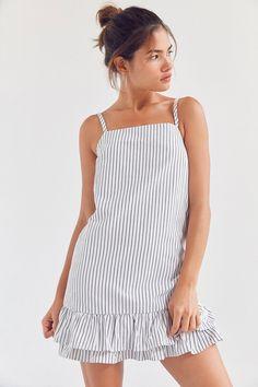 Kimchi Blue Ruffle-Hem Striped Slip Dress | Urban Outfitters
