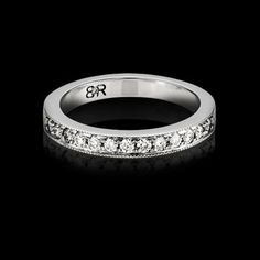 FOR HER - Provectus diamond wedding band with vintage inspired milgrained edges and 24 full cut diamonds (total approximate diamond weight of Available in white gold or platinum. Designed to match perfectly with the Provectus engagement ring. Diamond Bands, Diamond Wedding Bands, Diamond Cuts, Wedding Rings, Womens Wedding Bands, Vintage Inspired, Rings For Men, Diamonds, White Gold
