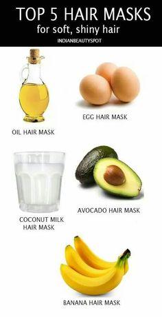 Hair masks for soft shiny hair