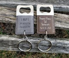 These bottle openers are totally customizable! We can engrave your words or design on the leather. They make great gifts for anyone. Total length is 4 Wedding Gifts, Wedding Favors, Wedding Stuff, Personalised Gifts For Him, Bottle Opener Keychain, Groomsman Gifts, Groom Gifts, Leather Keychain, How To Make Paper