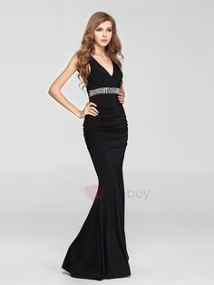 Tie Back Double V-Look Mermaid Jersey Evening Gown with Beading Accents & Wedding > Occasion Dresses > Ready to Wear Dresses Black Evening Dresses, Black Prom Dresses, Evening Gowns, Formal Dresses, Evening Party, Party Dresses, Special Occasion Dresses, Pink Ladies, Cool Outfits