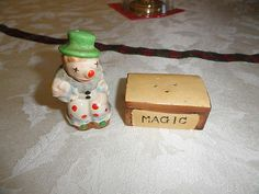 Vintage Clown and Magic Box Salt & Pepper Shaker Set from Japan