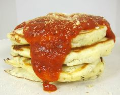 Pizza Pancakes - Great idea for a quick and easy dinner!