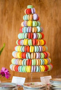 Brides.com: 31 Alternatives to the Classic Wedding Cake. A colorful tiered macaroon stand, created by Delish! Catering.