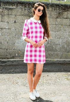 f472808e496 Vintage Pink Gingham Dress
