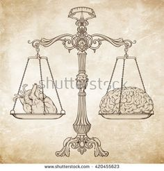 Vector illustration antique ornate balance scales with a heart and a brain on cups over grunge background. Logic and emotion priority concept. Even odds, being in balance.