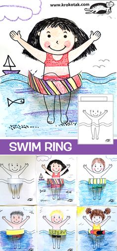 children activities, more than 2000 coloring pages - Basteln - Ringe Art Activities For Kids, Preschool Art, Diy For Kids, Crafts For Kids, Craft Kids, Summer Drawings, Fete Halloween, Art Lessons Elementary, Toddler Art