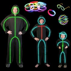 details about glow stick costume mens - Halloween Led Costume
