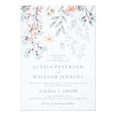 Boho Wedding Invitation Boho Botanical Rustic Wedding in Coral and Gray Card