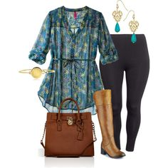"""Tunic & Boots - Plus Size"" by alexawebb on Polyvore"