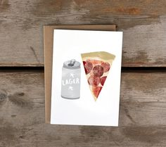 Lager  Pizza A6 Card by redcruiser on Etsy