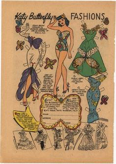 Even more Katy Keene Butterfly Fashions, from a Katy Keene Comic Book #26 January 1956 #paperdoll