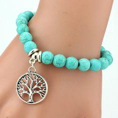 European And American Classic Turquoise Charm Bead Elastic Bracelets Handmade Turquoise Bracelets Bangles For Women