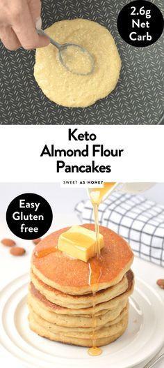 Keto Almond flour pancakes only 5 ingredients - Sweetashoney Keto Cream Cheese Pancakes, Best Keto Pancakes, Greek Yogurt Pancakes, Coconut Flour Pancakes, Low Carb Pancakes, Low Carb Breakfast, Fluffy Pancakes, Breakfast Ideas, Heathy Breakfast