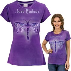 Just Believe Dragonfly Tee ~ buying this will fund 28 bowls of food for shelter animals...