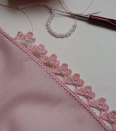 Trendy Ideas For Crochet Edging Ideas - Diy Crafts Crochet Stone, Crochet Lace Edging, Crochet Borders, Freeform Crochet, Cotton Crochet, Bead Crochet, Cute Crochet, Crochet Flowers, Crochet Stitches