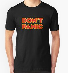 Don't Panic, Hitch Hikers Guide To The Galaxy Inspired T-shirt by GarfunkelArt