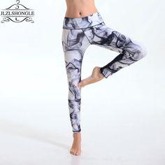 2016 New Women Gray Smoke Printed Pants Fitness High Waist Quick-drying Slim Fashion Ankle Length Leggings